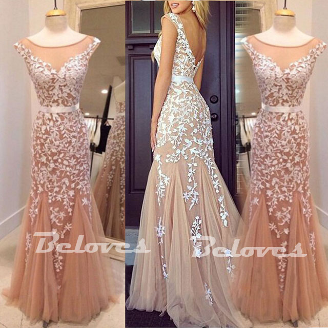 Nude illusion Cap Sleeves Formal Prom Gown With Lace Appliques ...