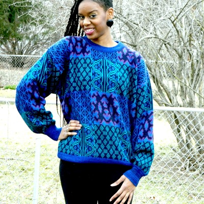 Blue, green and pink abstract design sweater