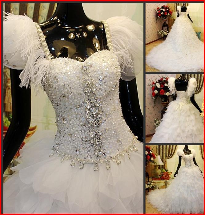 YZ Sweet Heart Neck Organza Ruffles Swarovski Crystal Ball Gown ...
