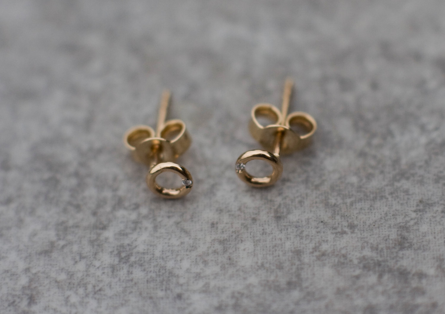 gold open circle white stud image earrings diamond jewellery