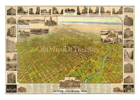 Denver co in 1908 bird 39 s eye view map aerial map for Craft stores denver co