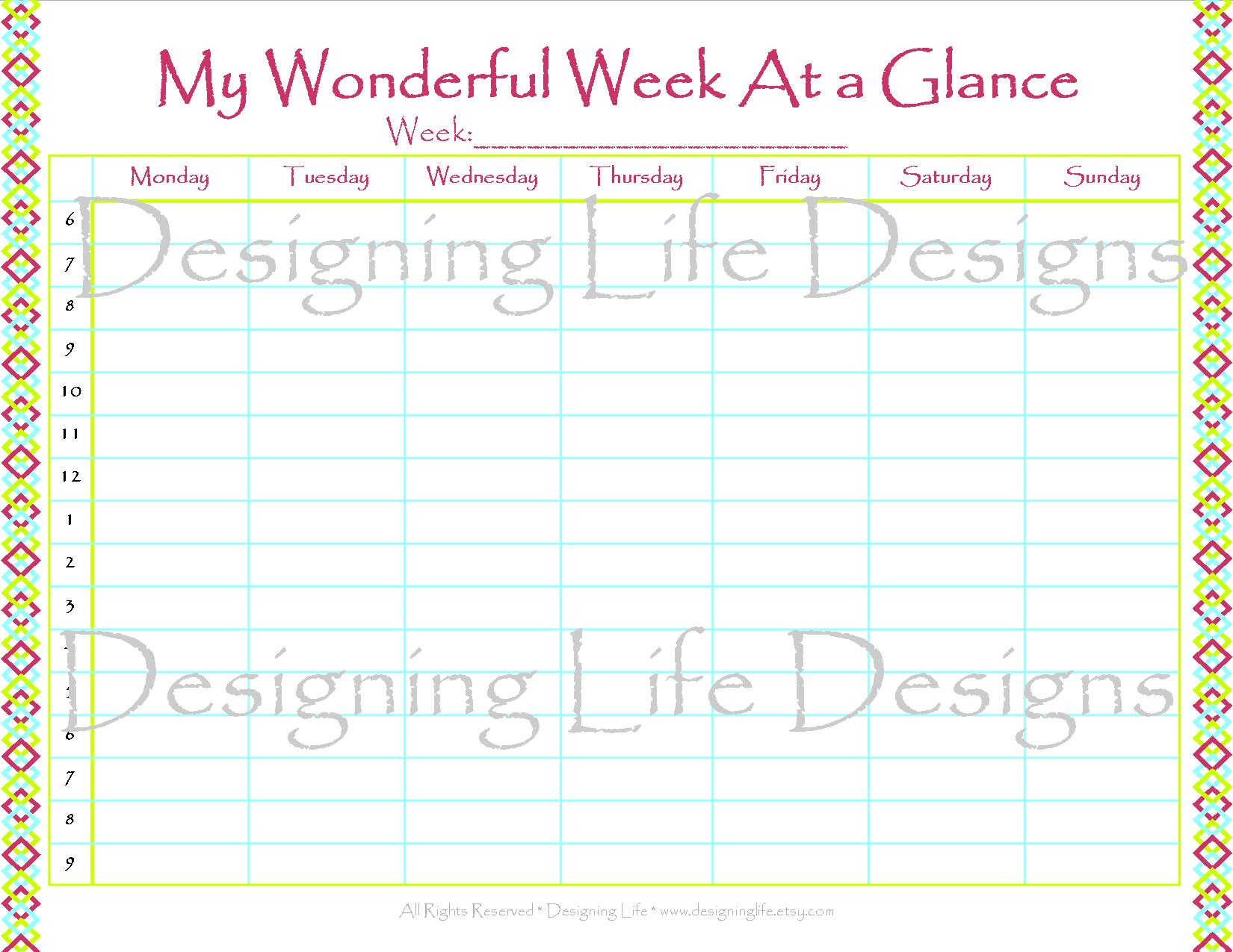 virtical printable week at a glance search results new calendar template site. Black Bedroom Furniture Sets. Home Design Ideas
