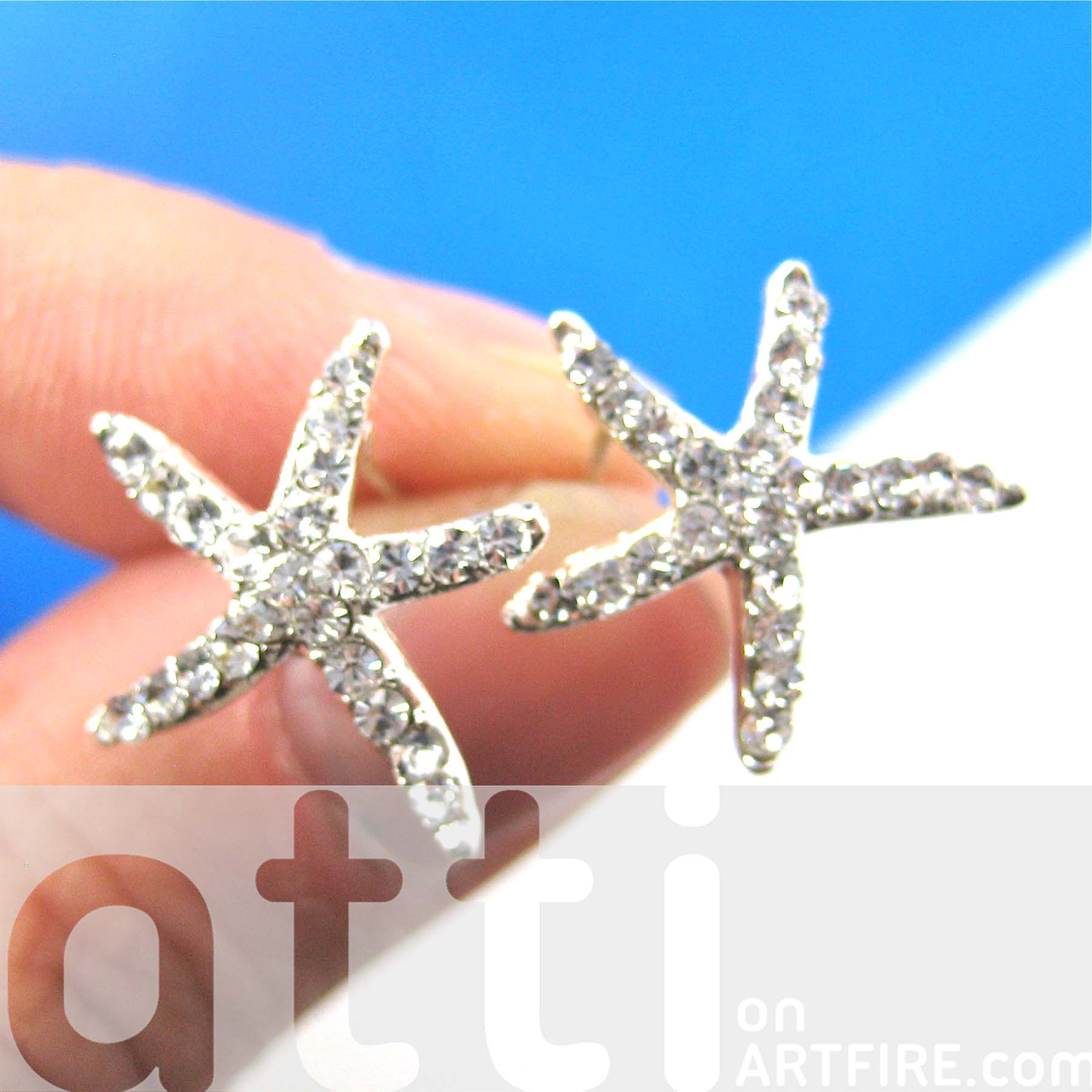 in stud products earrings original small img star animal dotoly silver thumbnail starfish shaped
