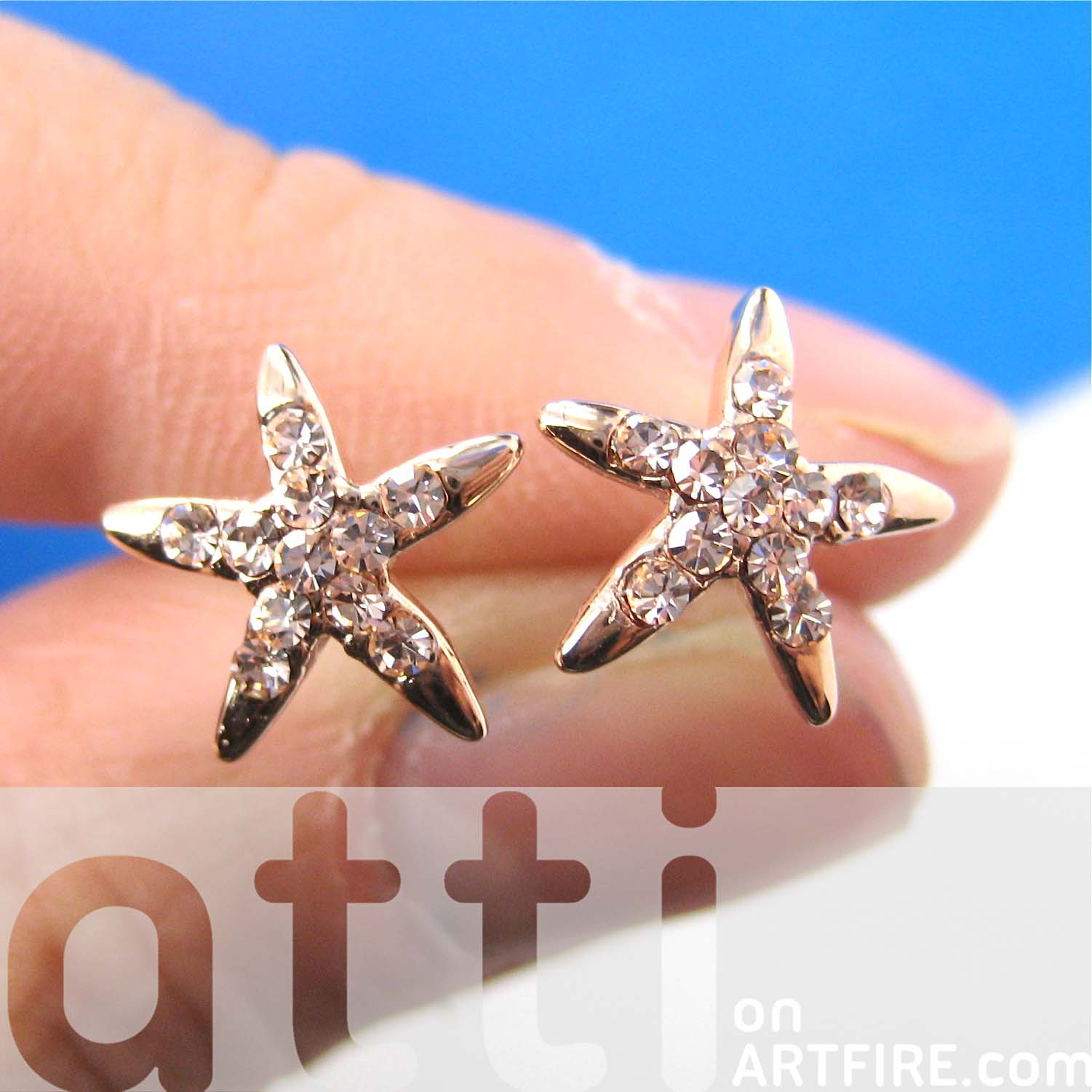 l summer starfish silver glitter topaz stud blue earrings