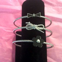 Stacked Flower & Bow Bangles (Silver)
