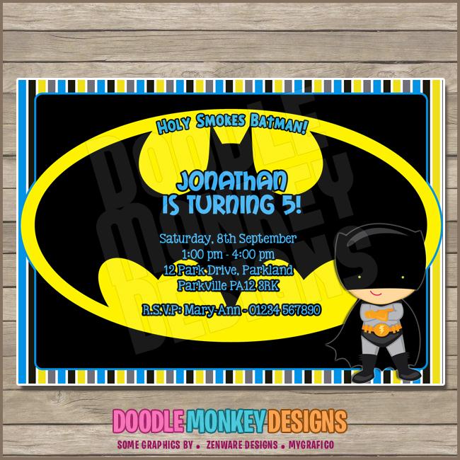 Batboy V3 Batman Party Invitation Diy Printable Digital Invite