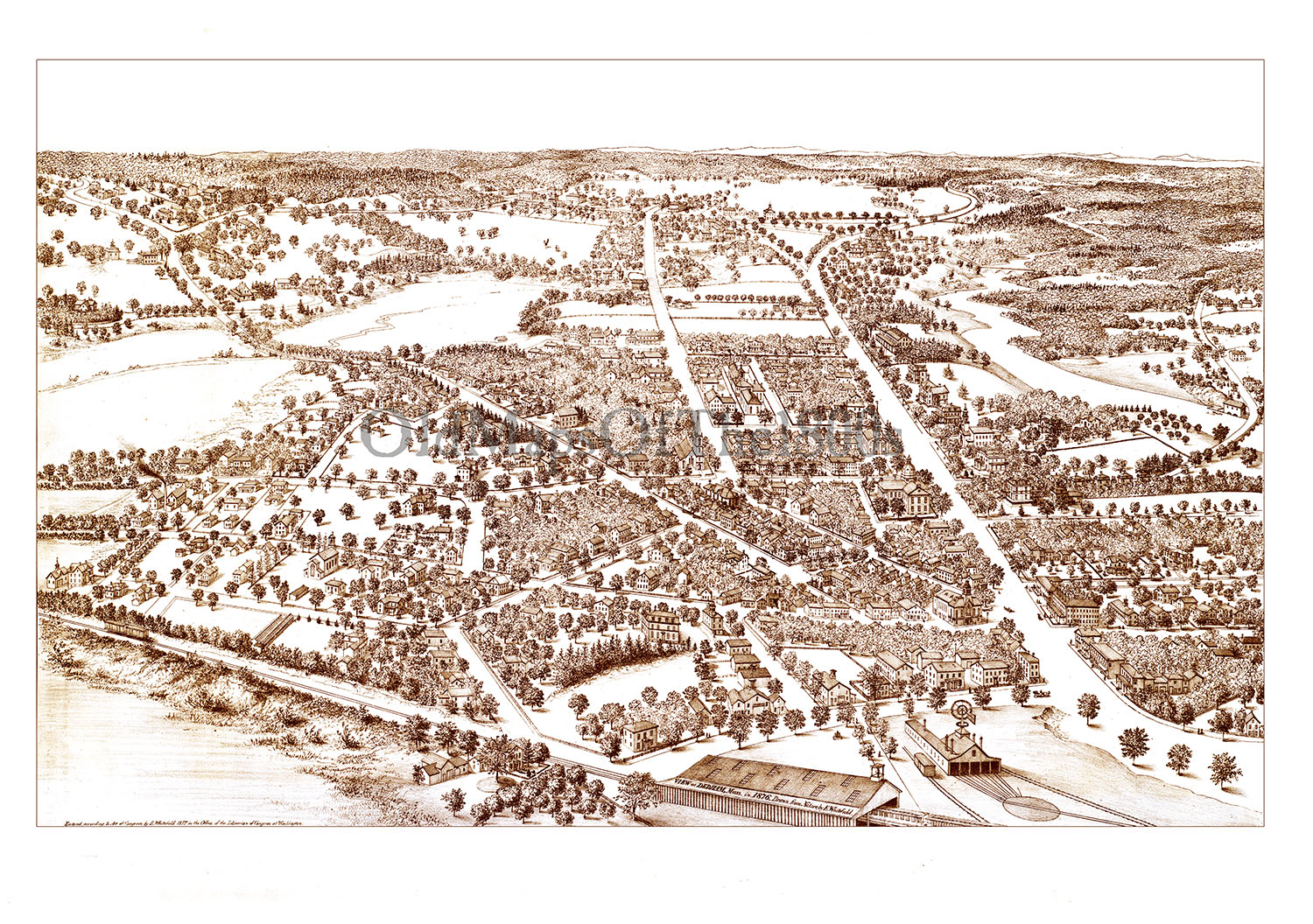 Dedham (MA) United States  City new picture : Dedham, MA in 1876 Bird's Eye View Map, Aerial map, Panorama map ...
