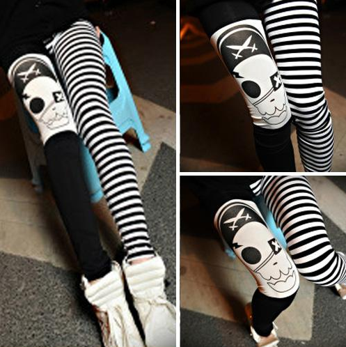 a5590514479c6 Black Satin Pirate Skull Leggings · Enix Fashion · Online Store ...