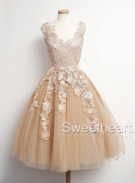 Sweetheart Girl Retro Tulle Lace Short Prom Dresses
