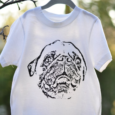 Pug face short sleeve tee - white