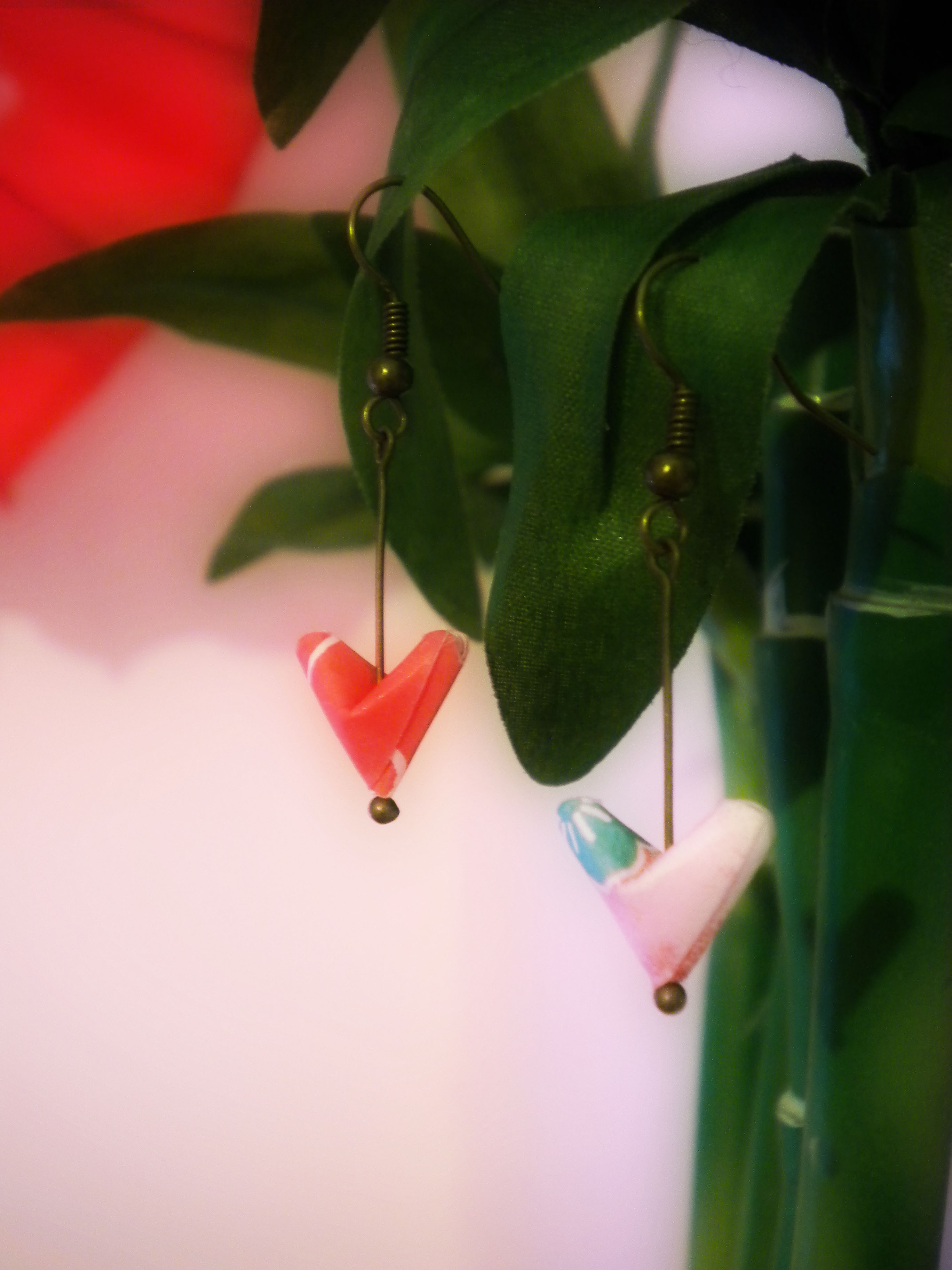 Origami Paper Hearts Earrings