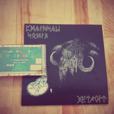 Chainsaw squid/detroit tour tape & split 7'' bundle opq042 opq040