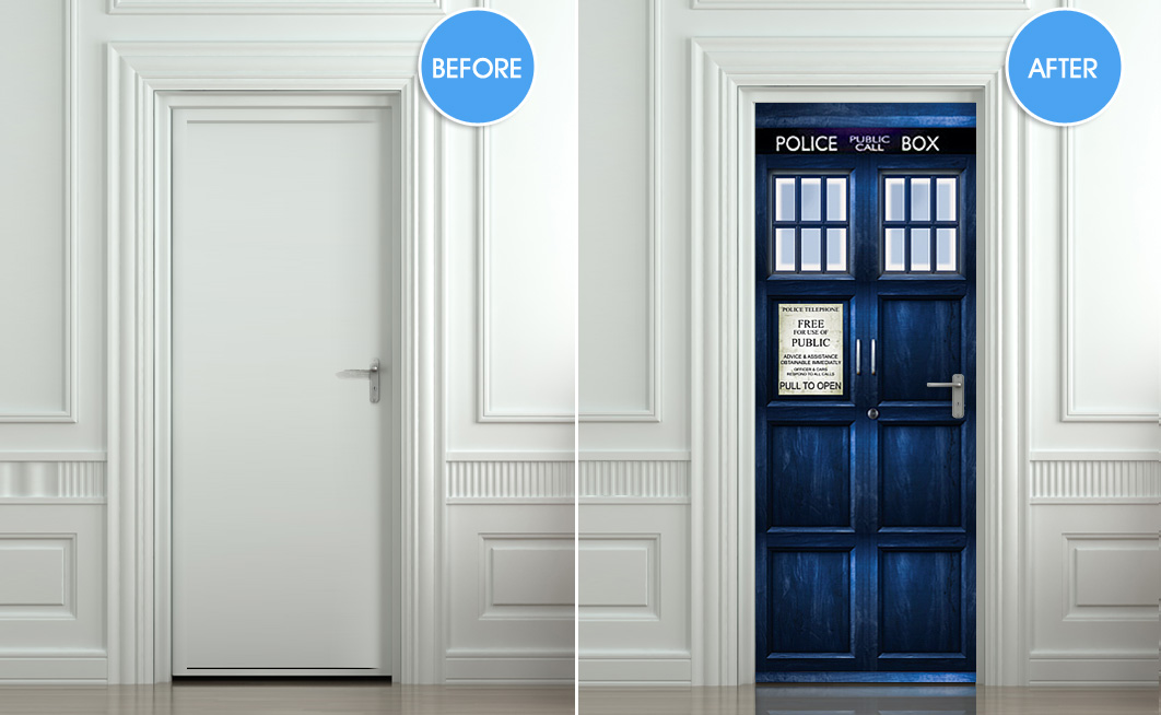 Dr who tardis diy 3d door wall mural police phone box for Door mural decals