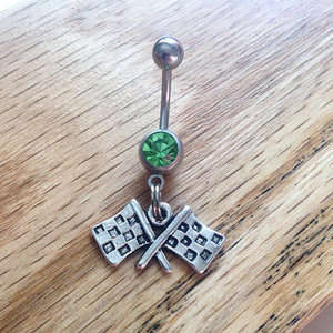Checkered Flag Belly Ring