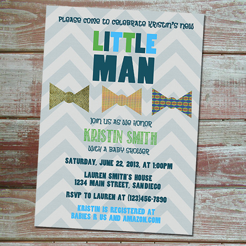 bow tie baby boy shower invitation on storenvy