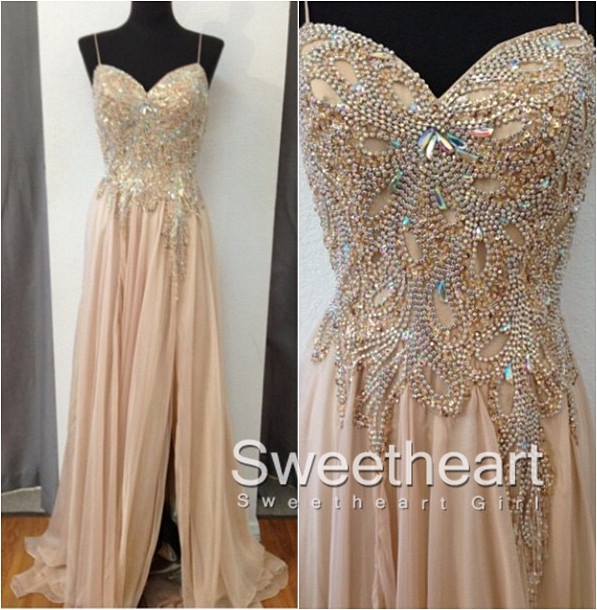 Sweetheart Girl | Champagne Chiffon Beaded Long Prom Dresses ...