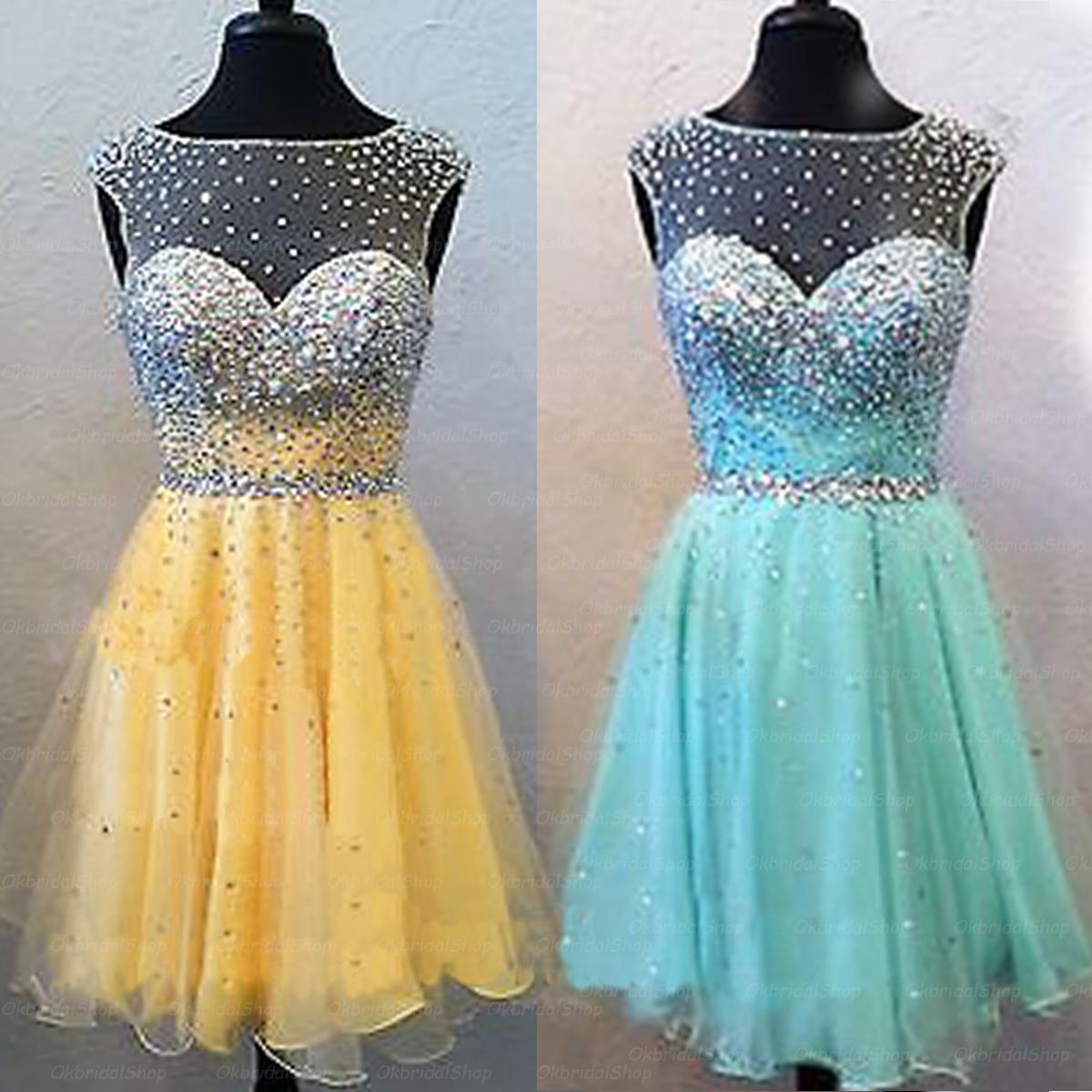 short prom dress, tiffany blue prom dress, yellow prom dress, cheap ...