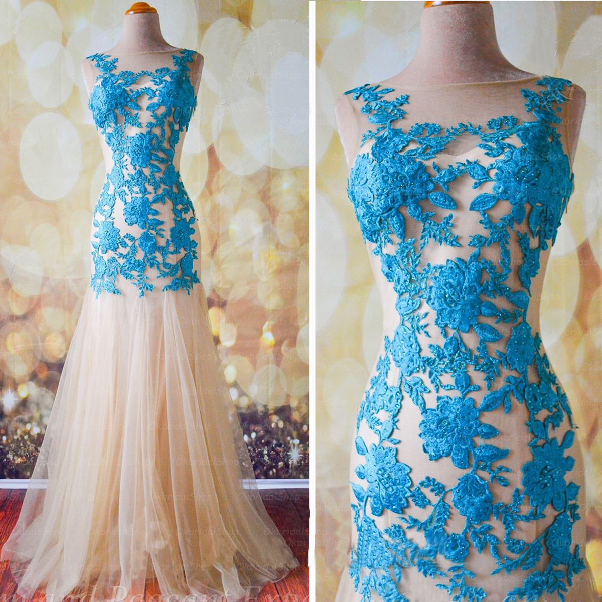 lace prom dress, blue prom dress, long prom dress, mermaid prom ...