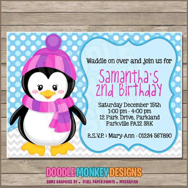 Penguin Girl Party Invitation Diy Printable Digital Invite
