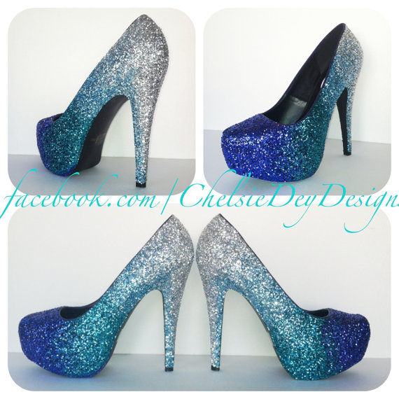 blue glitter high heels aqua turquoise silver ombre. Black Bedroom Furniture Sets. Home Design Ideas