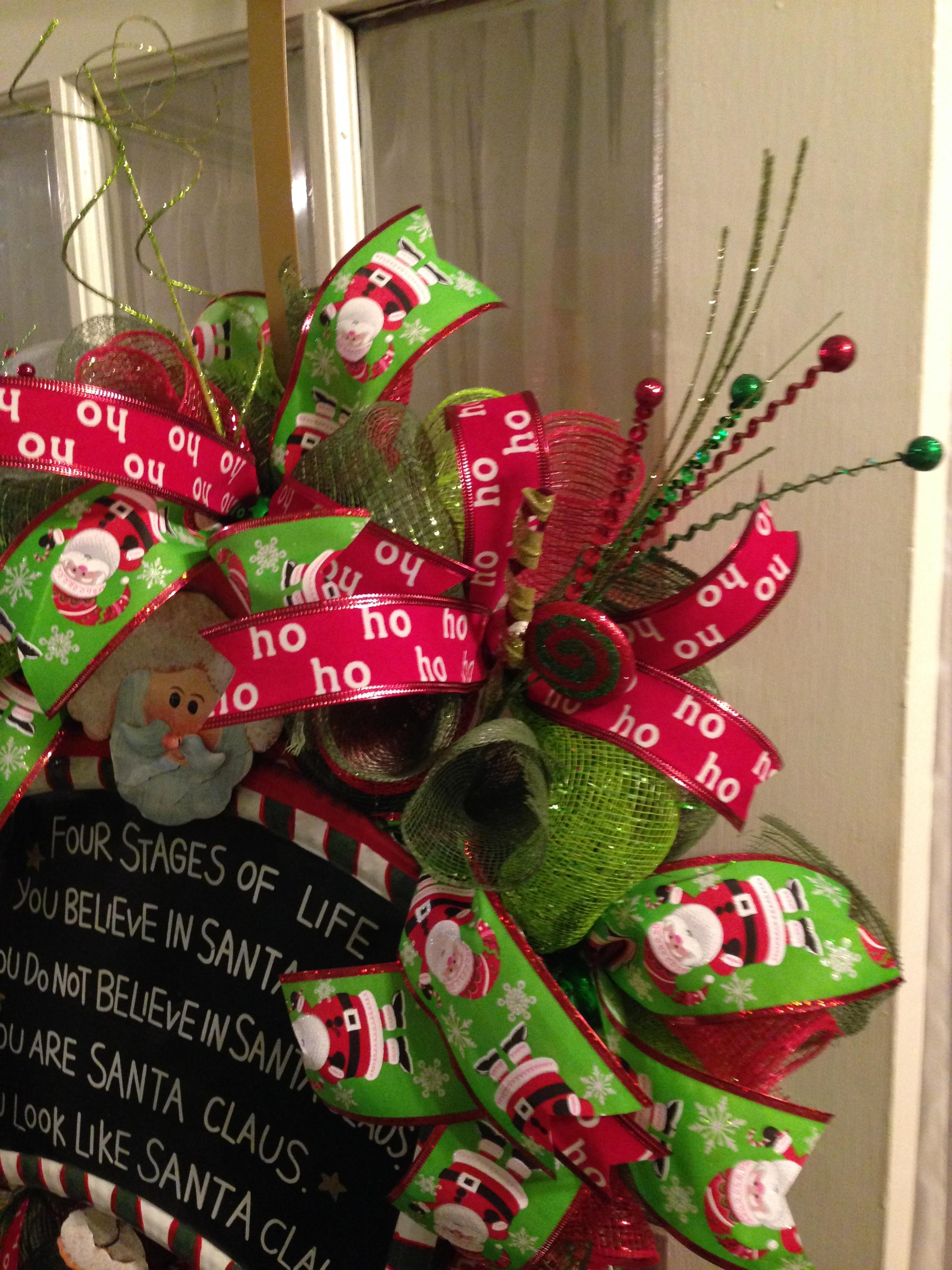 santa claus wreath deco mesh ribbon christmas lime green red mesh