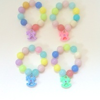 you choose - pastel pink blue purple yellow green rocking horse gumball bead stretch bracelet