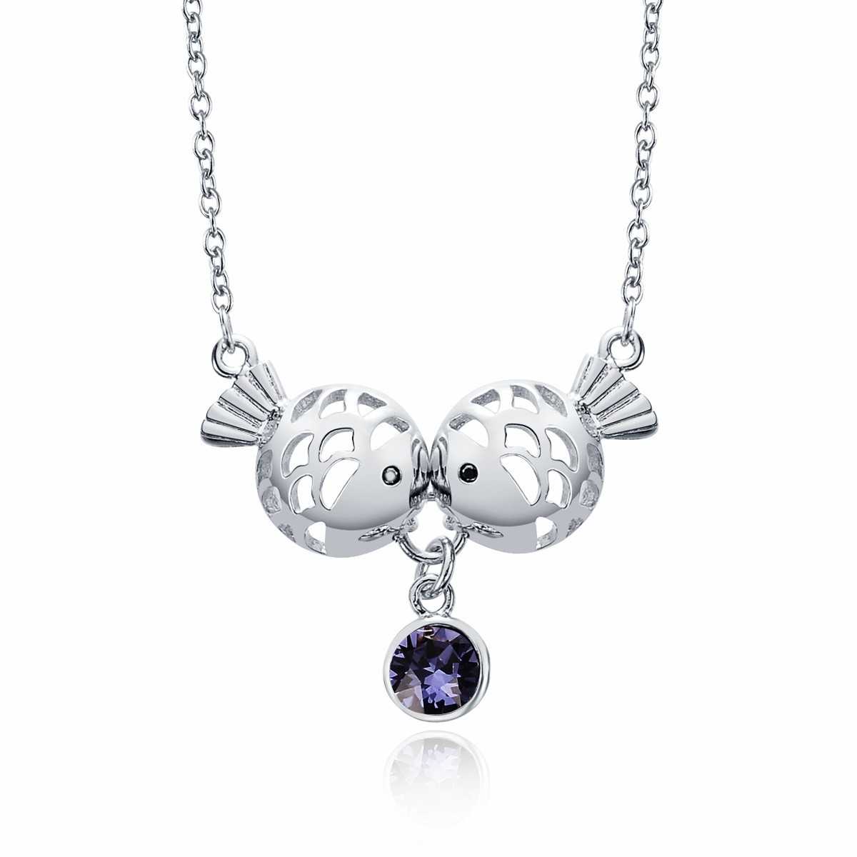 Women sterling silver hollow kissing fish drop purple round women sterling silver hollow kissing fish drop purple round crystal pendant necklace jewelry mozeypictures Gallery