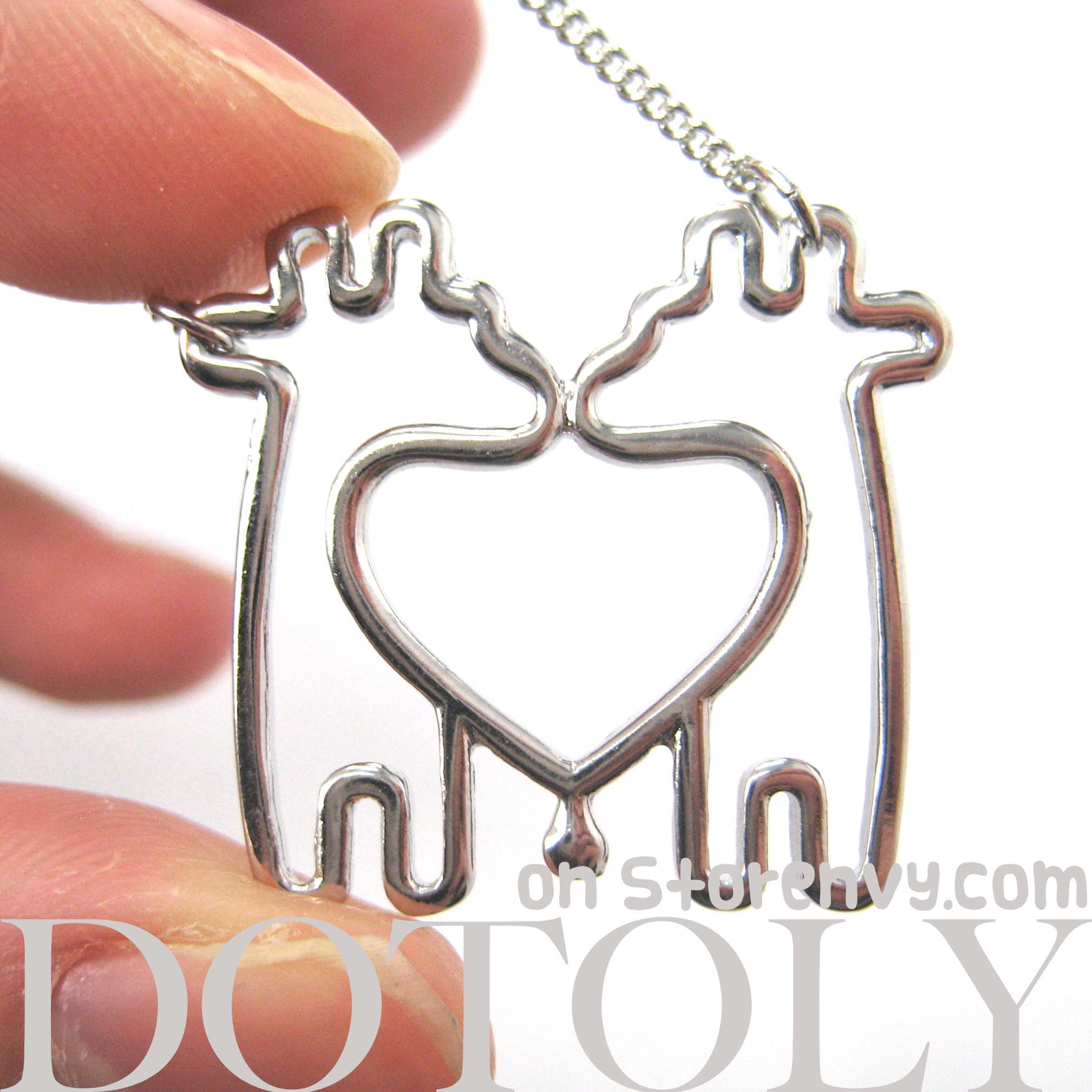 love charm gold original giraffe on simple in products outline animal heart two necklace