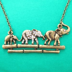 Elephant Family Parade Animal Charm Necklace in Bronze with Rhinestones