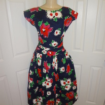 Vintage Blue Floral Puff Dress Size M!
