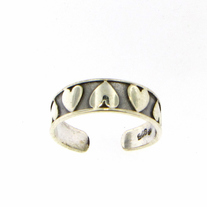 Antiqued Hearts Sterling Silver Toe Ring