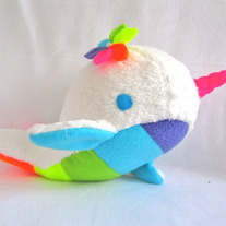 narwhal plush toy- Joy- White and Rainbow soft fluffy fleece whale narwal plushie