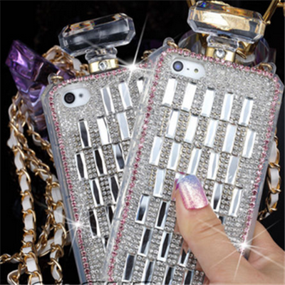 Iphone 6 plus, 6, 5/5s, 4/4s - sizzling rhinestone perfume bottle case in black or clear