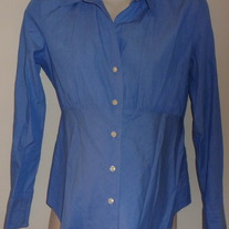 Blue/White Pin Stripe Shirt with Buttons/Collar-Gap Maternity Size Small