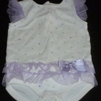 White Onesie with Green/Purple Polka Dots and Tutu-Gymboree Size 6-12 Months