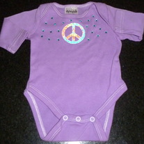 Purple Long Sleeve Onesie with Peace Sign and Rhinestones-NEW-Boutique Size Newborn