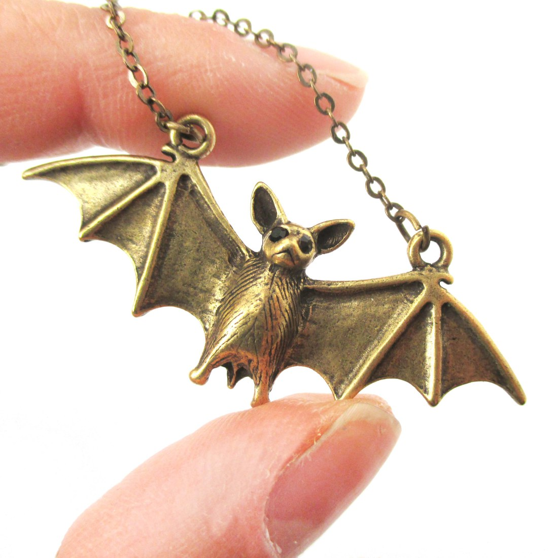3d realistic bat with spread wings animal shaped pendant necklace in 3d realistic bat with spread wings animal shaped pendant necklace in brass aloadofball Image collections
