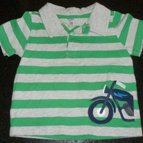 Green/Gray Stripe Bicycle Short Sleeve Shirt-Carter's Size 24 Months