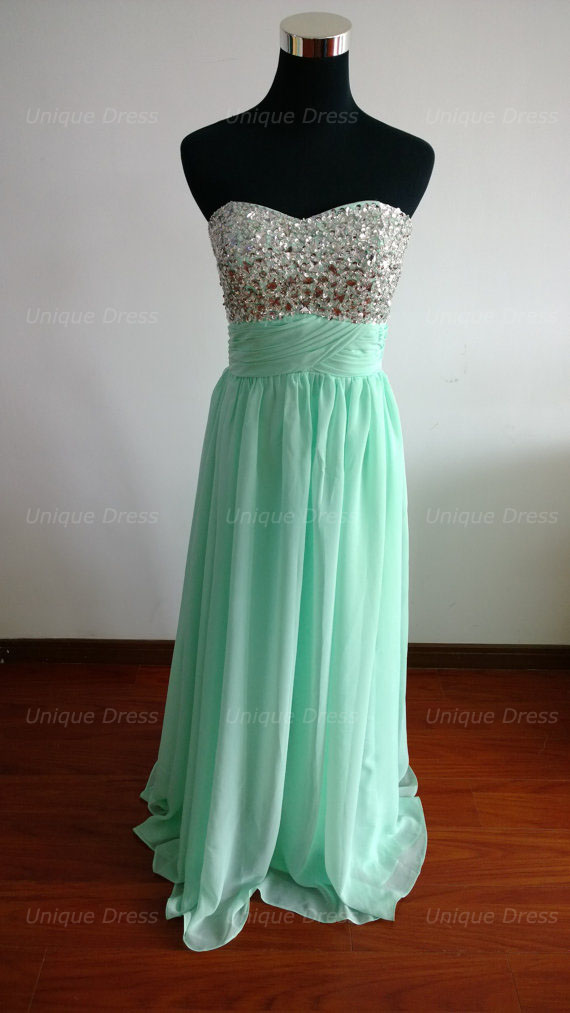 Mint Green Beading Prom Dress Long Sweetheart Prom Dress Long