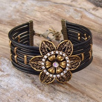 Black Leather Cuff Bracelet with Large Gold Crystal Flower