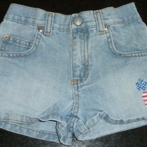 Denim Shorts with Red/White Flower-Old Navy Size 4T