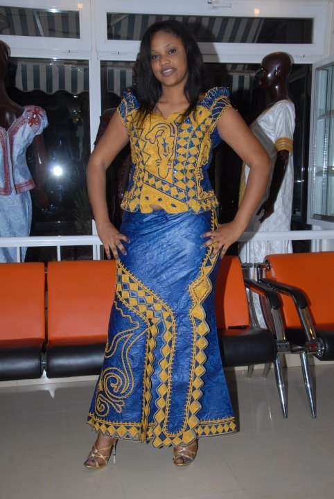 Blue African Brocade Top With Skirt Set And Embroidery On