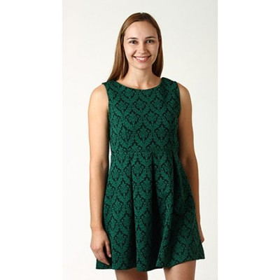 Green vintage wallpaper print dress