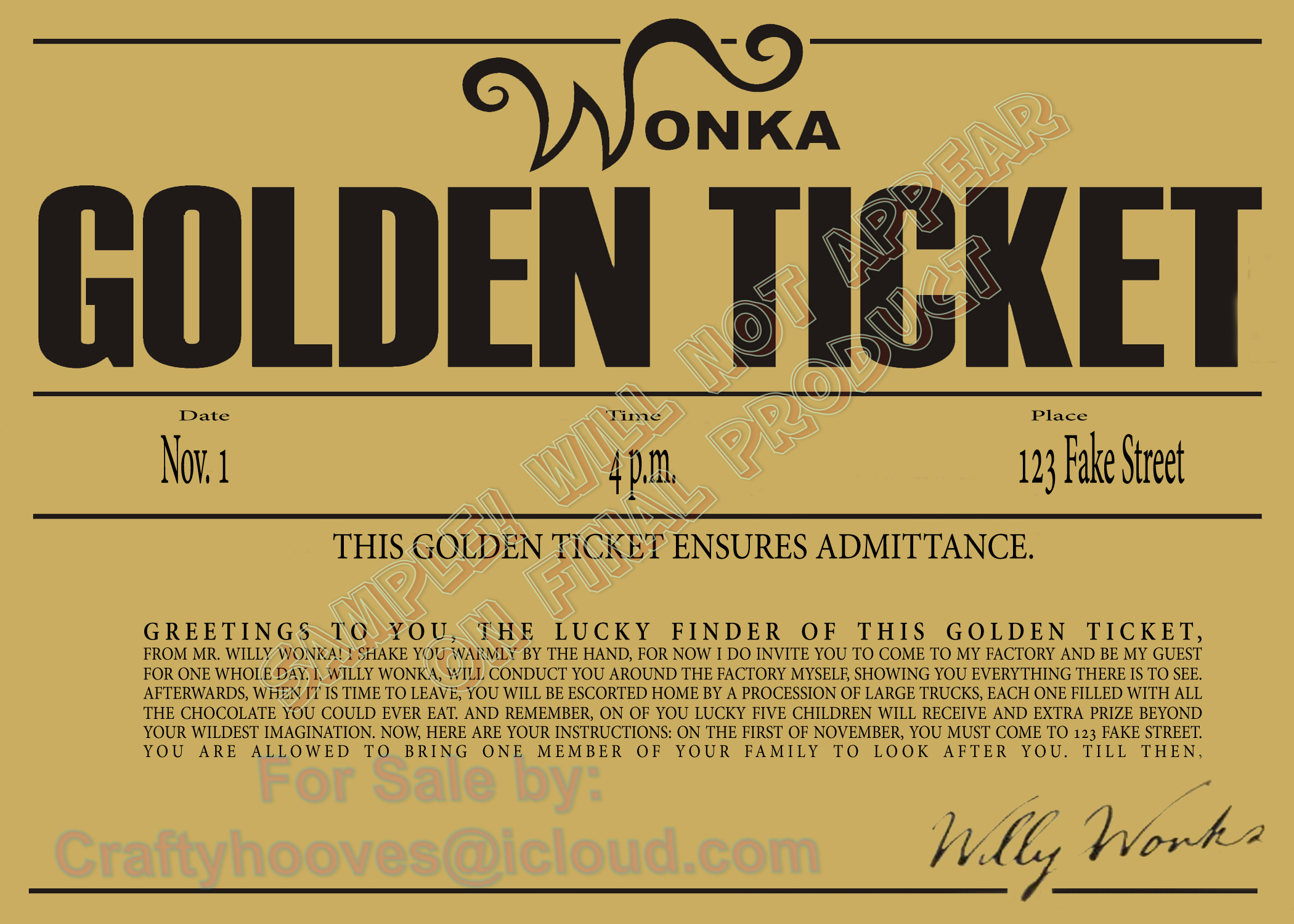 Willy Wonka and the Chocolate Factory Golden Ticket Birthday Party ...