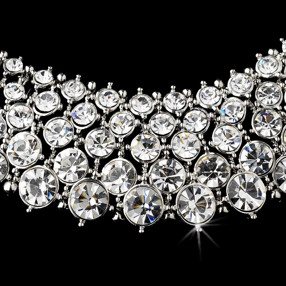 Rhodium Silver Rhinestone Bridal Wedding Necklace Earring Set Wendys Bridals Online Store