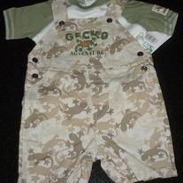 Lizard Short Overalls with Matching Shirt-NEW-Little by Little Size 6-9 Months