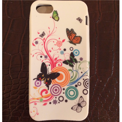 Iphone 5/5s *red tag*  -colorful butterflies soft comfy grip case