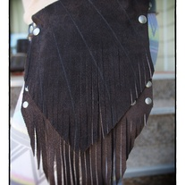 Brown Suede fringed Hip Pocket