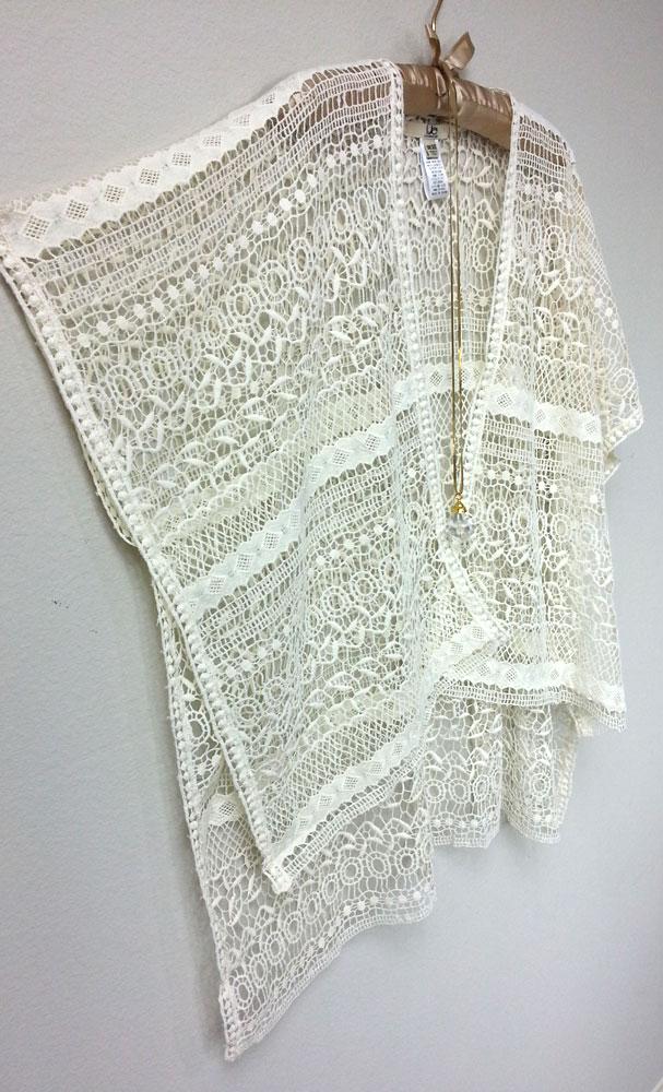 Off White Lace Poncho, Open Weave Kimono, Beach Cover Up Shawl - sun ...