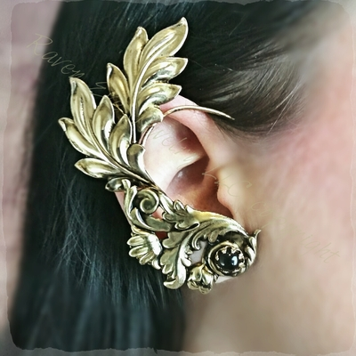 Minerva brass ear wrap with jewel